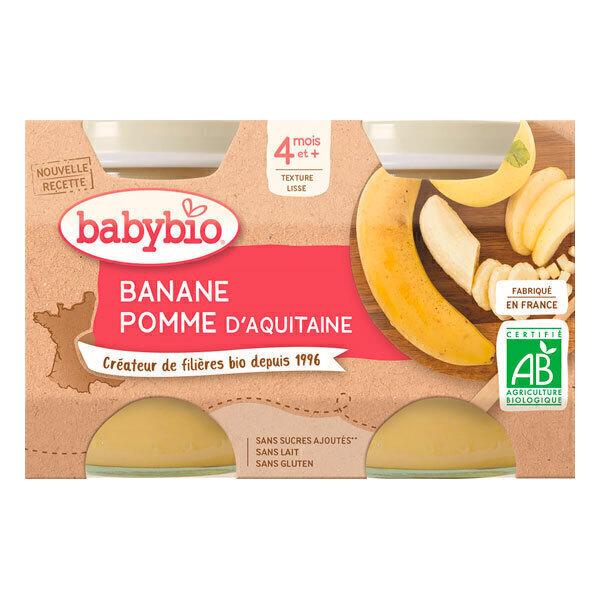 Babybio - Petits pots banane et pomme d'Aquitaine dès 4 mois - 2 x 130g