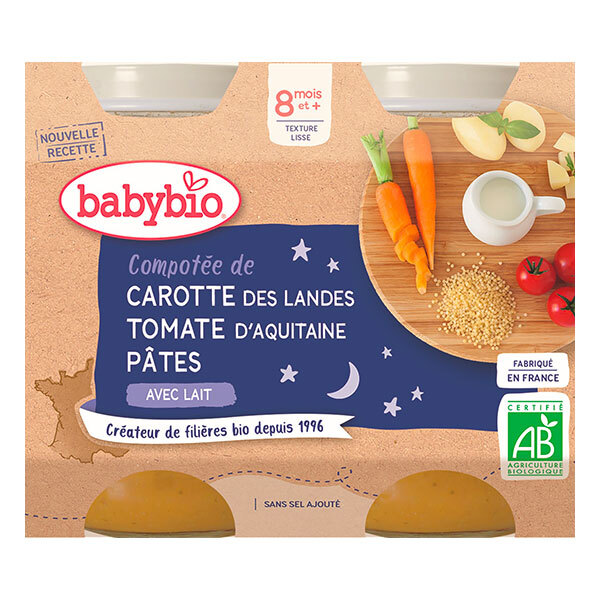Babybio - Petits pots Carotte Tomate & Pâtes 2 x 200g