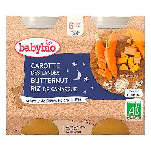 Babybio - Petits pots Carottes Butternut Riz 6 mois 2x200g