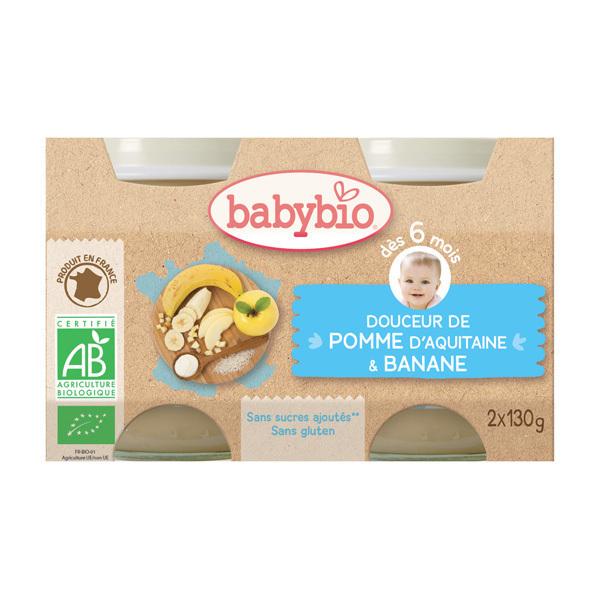 Babybio - Petits pots Crème aux fruits 2x130g, Pommes-Bananes