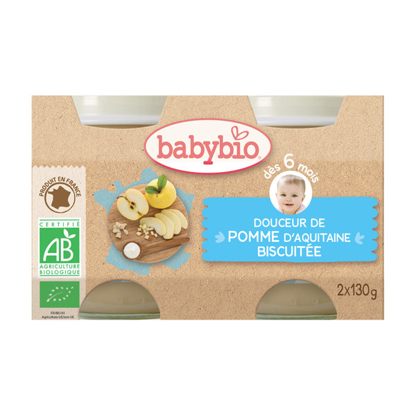Babybio - Petits pots Crème aux fruits 2x130g, Pommes-Biscuits
