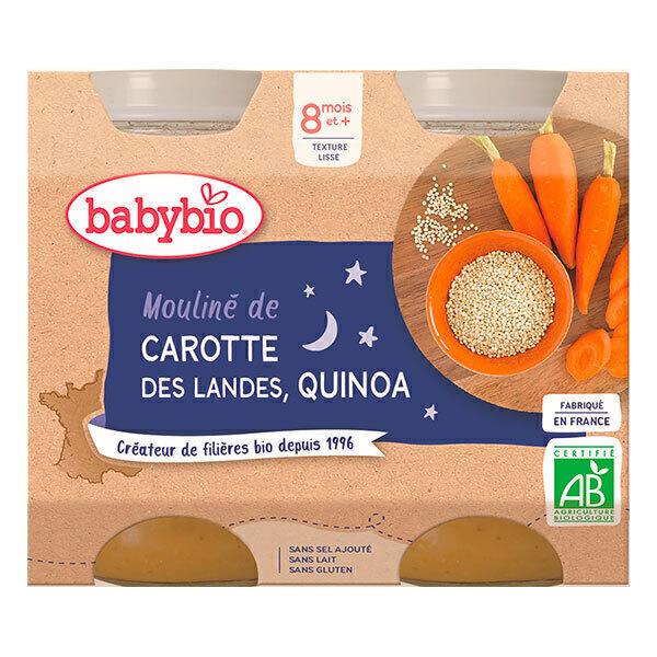 Babybio - Petits Pots Mouliné Carotte Quinoa 8mois 2x200g