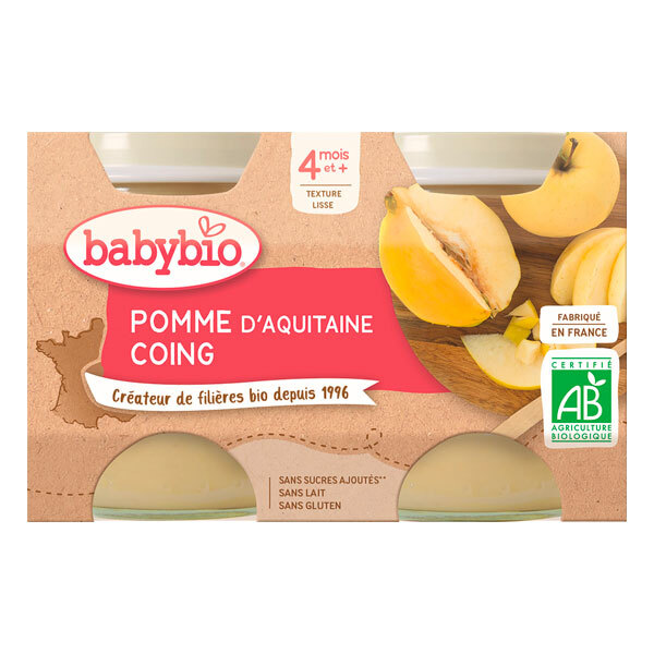 Babybio - Petits pots Pomme Coing 4 mois 2 x 130g