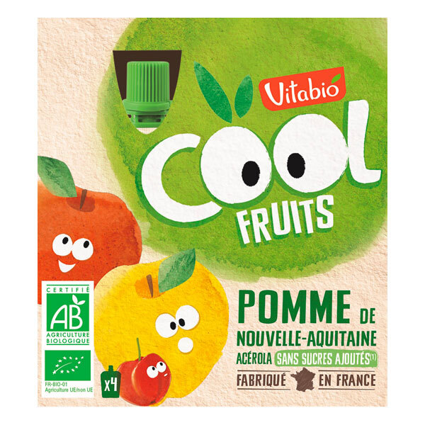 Vitabio - Cool Fruits Pomme - gourdes de fruits - 4x90g