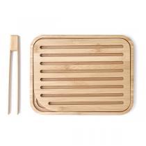 Pebbly - Set planche à pain & pince à toast Bambou naturel