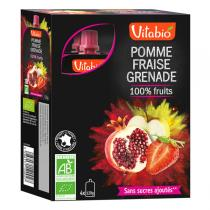 Vitabio - Gourde 100% Fruits Pomme Fraise Grenade - 4x120g