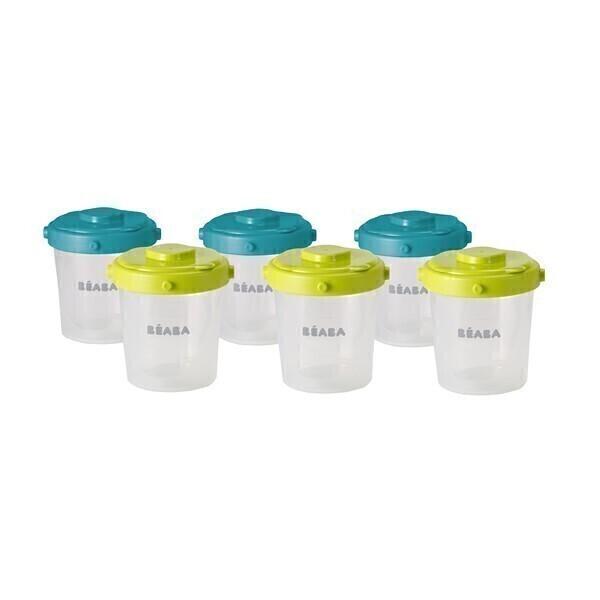 Beaba - Lot de 6 portions clip 1er âge 60ml et 120ml Bleu Neon