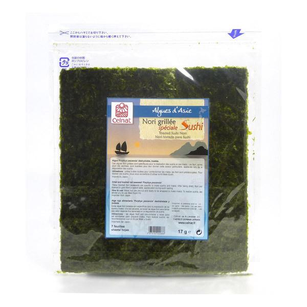 Celnat - Algues Nori grillées spéciales Sushi - 7 feuilles - 17 g