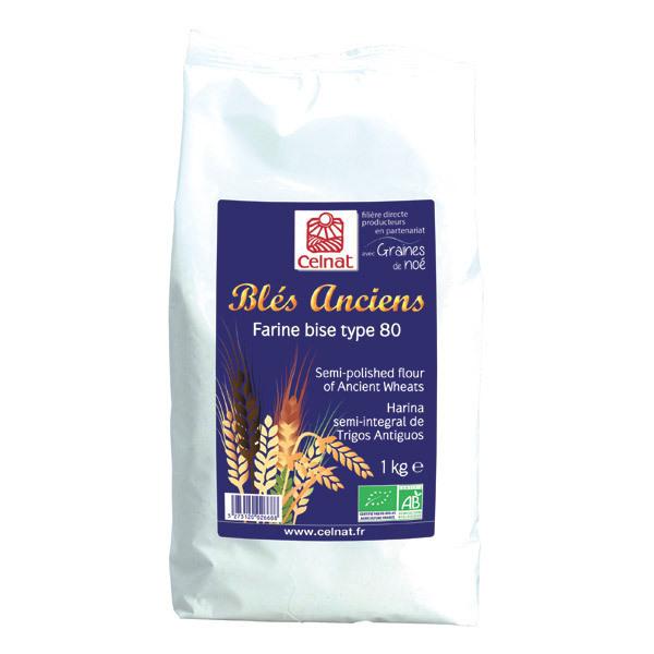 Celnat - Farine bise de blés anciens T80 bio - 1 kg