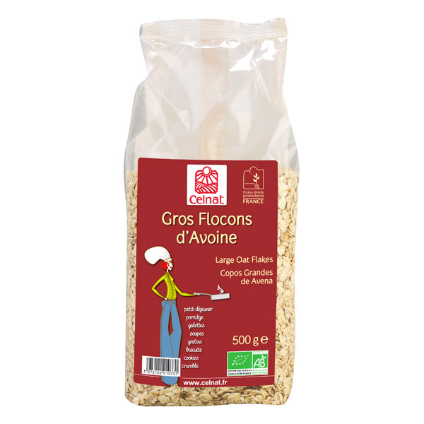 Celnat - Gros flocons d'avoine bio origine France - 5 kg