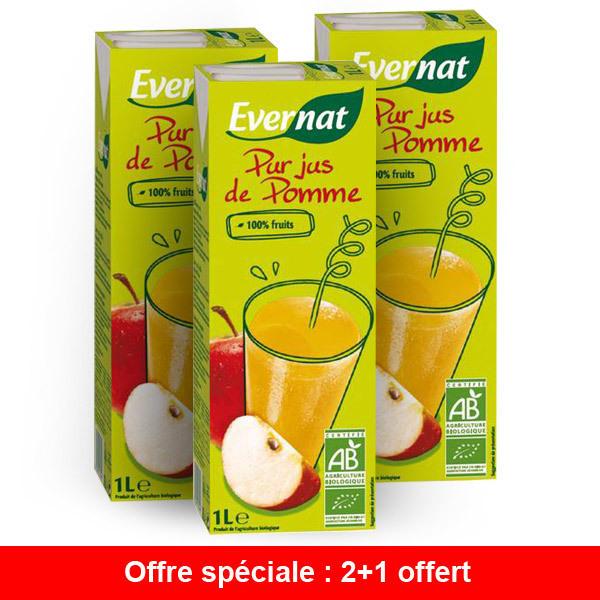 Evernat - Offre Pur jus de pomme BIO 1L - 2 + 1 gratuit