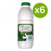 Biogam - Lot de 6 Laits stérilisés Ecrémé Bio - 1L