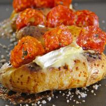 Panier Recette - Jacket Potatoes au Brillat Savarin et Chorizo pour 4 personnes