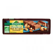 Bonneterre - Barre Chocolat au Lait et Noix de Cajou caramélisées - 40 g