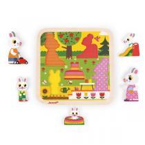 Janod - Chunky Puzzle Jardin 5 pcs en bois - Dès 18 mois