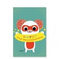 Pirouette cacahouete - Mes invitations Super Souris - Lot de 8
