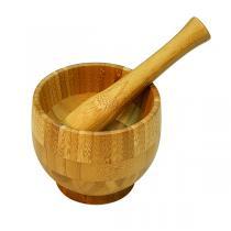 Point virgule - Mortier et pilon en bambou 12 cm