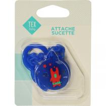 Tex Baby - Attache sucette ruban Bleu