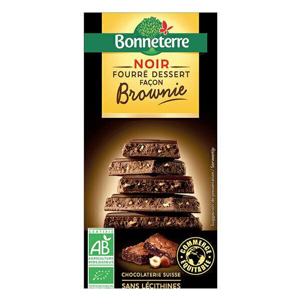 Bonneterre - Tablette chocolat noir fourrée brownie 100g