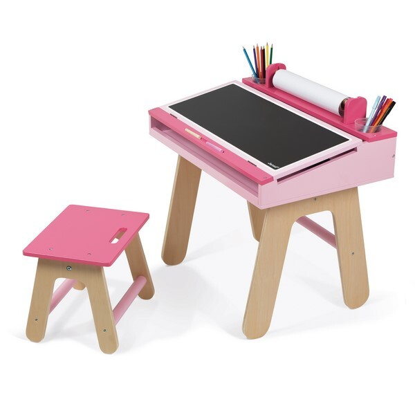 bureau et chaise rose en bois d s 3 ans janod natiloo. Black Bedroom Furniture Sets. Home Design Ideas