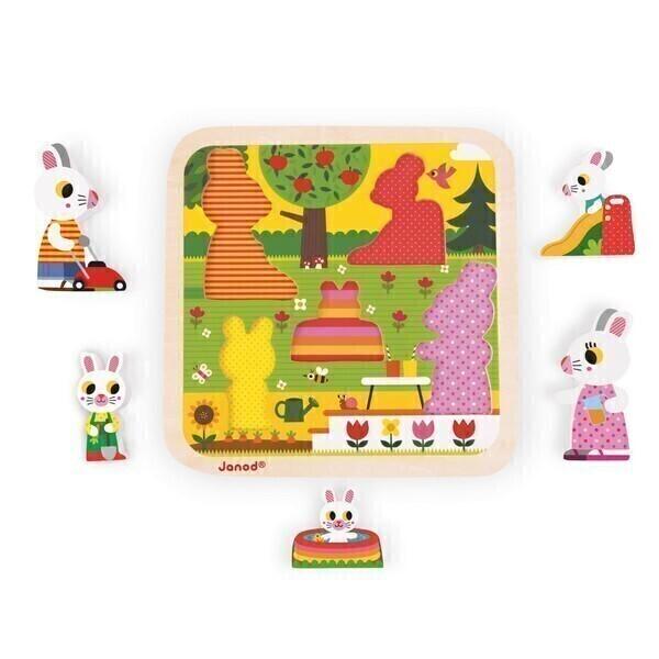 chunky puzzle jardin 5 pcs en bois d s 18 mois janod acheter sur. Black Bedroom Furniture Sets. Home Design Ideas