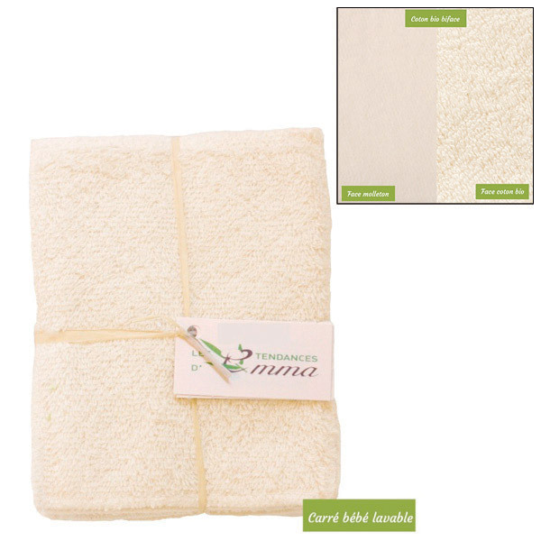 Les Tendances d'Emma - 5 carrés bébé lavables coton bio Biface