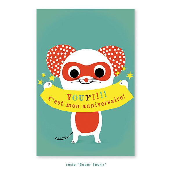 Pirouette cacahouete - 8 cartes d'invitation Super Souris