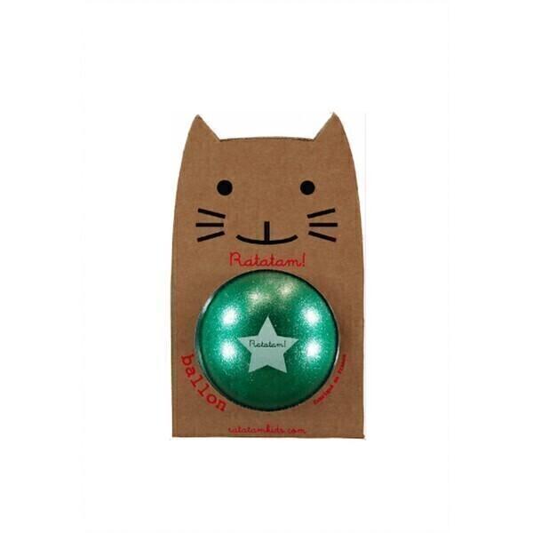 Ratatam - Léon le ballon Vert paillette - Diamètre 15cm