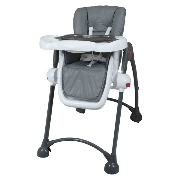 chaise haute pliante t l scopique gris tex baby. Black Bedroom Furniture Sets. Home Design Ideas