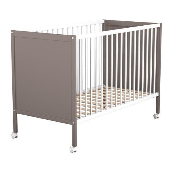 Lit panneaux 60x120cm r glable en hauteur blanc taupe at4 - Lit bebe hauteur reglable ...