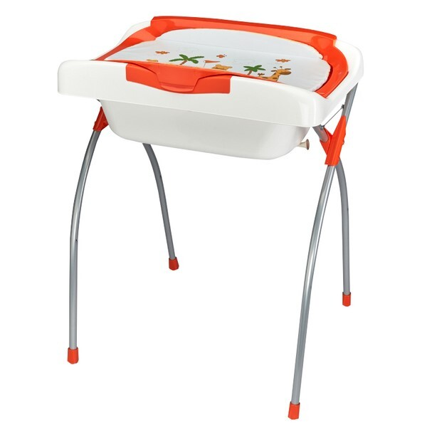 Table langer pliante baignoire era orange at4 - Baignoire bebe table a langer pliante ...