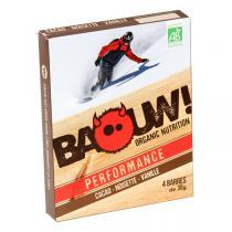 Baouw! Organic Nutrition - Barres bio Cacao - Noisette - Vanille - 4 barres de 30 g
