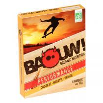 Baouw! Organic Nutrition - Barres bio Chocolat - Noisette - Orange - 4 barres de 30 g