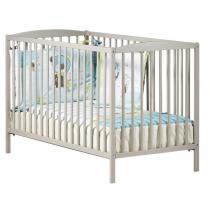 Baby Price - Lit bébé à barreaux 60x120cm taupe Basic