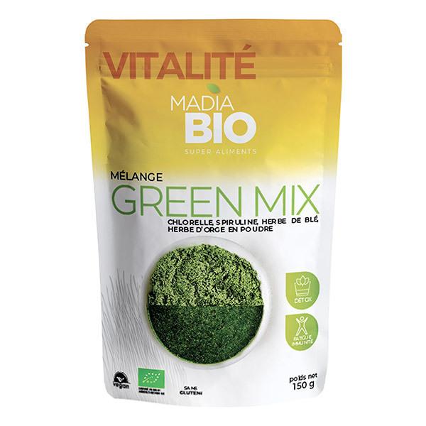 Madia Bio - Green mix chlorelle,spiruline,herbe d'orge,herbe de blé bio 150g
