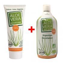 Biotechnie - Lot Jus d'Aloe Vera Bio avec Pulpe 1L + Gel Aloe Vera Bio 125mL