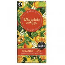 Chocolate & Love - Tablette chocolat noir 65% orange - 80g