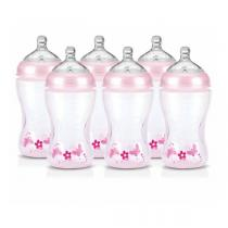 Nuby - Lot de 6 biberons SoftFlex™ - Roses - 330ml