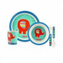 Nuby - Set de repas Bambou & Maïs - Eléphant bleu - 6mois+