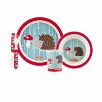 Nuby - Set de repas Bambou & Maïs - Hérisson rouge - 6mois+
