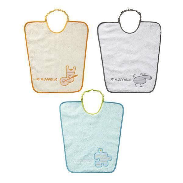 """Babycalin - Lot 3 bavoirs maternelle """"Je m'appelle"""" Orange-bleu-gris 24mois+"""