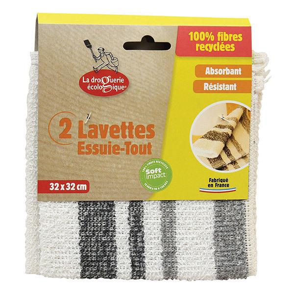 La Droguerie écologique - 2 lavettes essuie tout recyclées