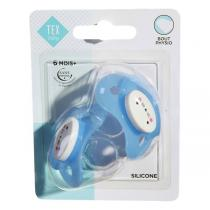 Tex Baby - 2 Sucettes Bout Physiologique -Silicone Bleu 6-18 mois