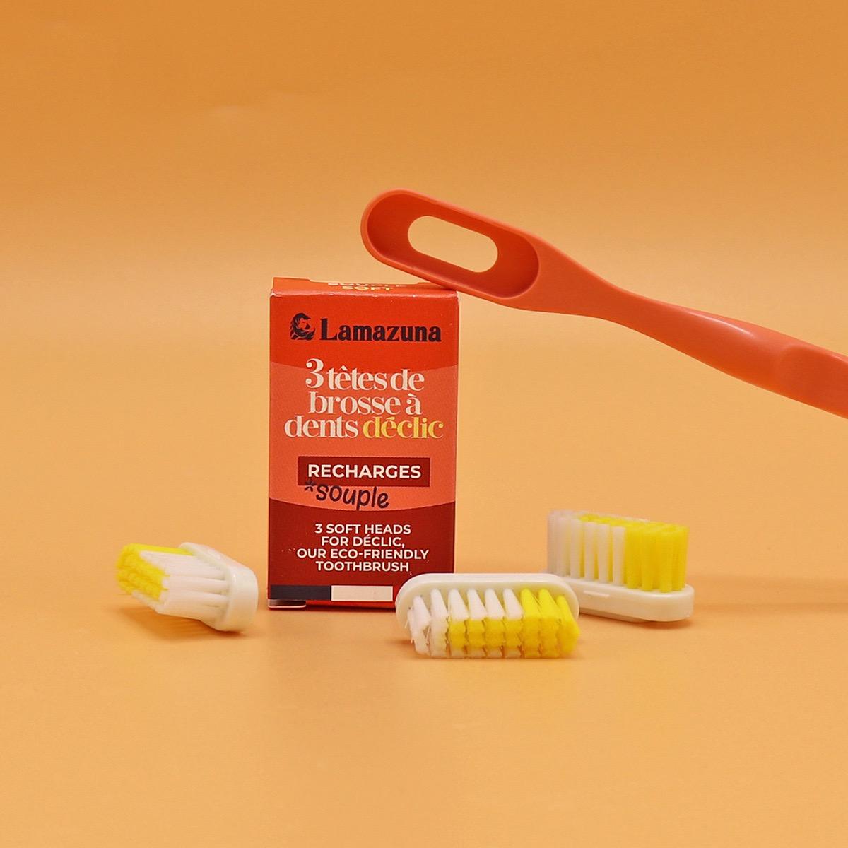Lamazuna - Recharge de 3 têtes Souple pour brosse à dents