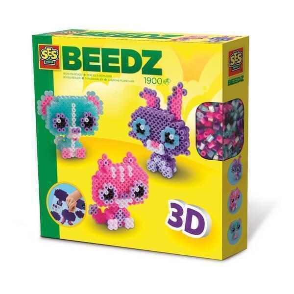 SES Creative - Beedz: Perles à repasser - Animaux en3D - Dès 5 ans