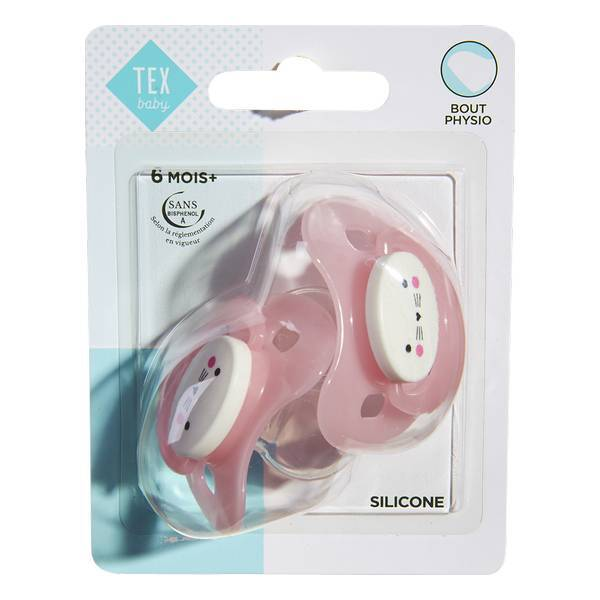 Tex Baby - 2 Sucettes Bout Physiologique -Silicone Rose 6-18 mois