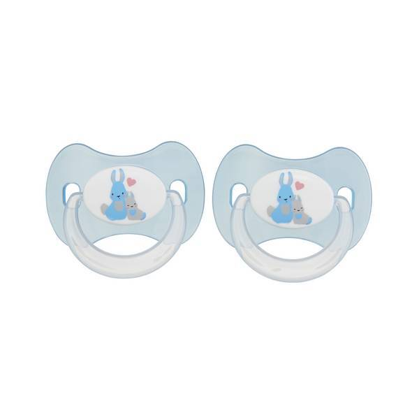 Tex Baby - 2 Sucettes bout rond -Silicone Bleu 0-6mois