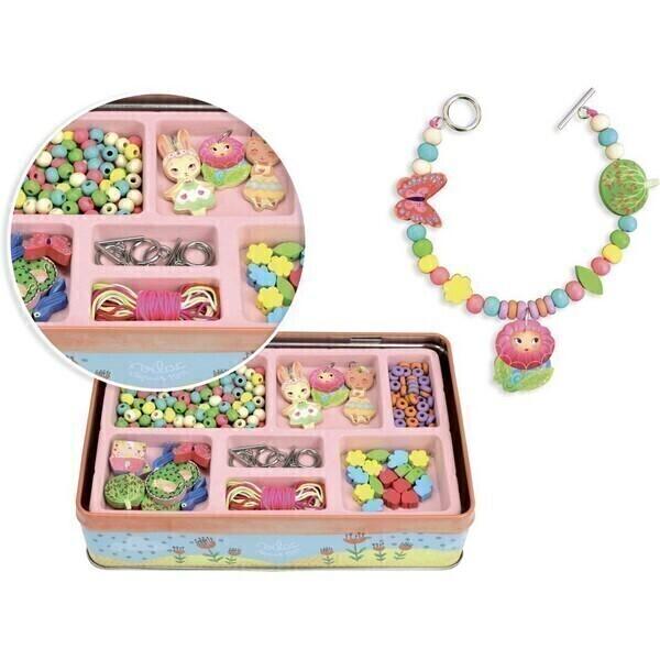 Vilac - Boite de perles en bois - thème jardin - Dès 5 ans