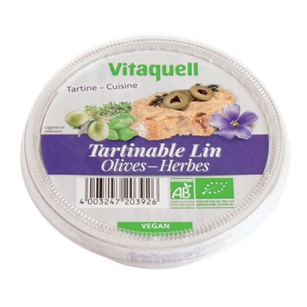 Tartinable lin olives herbes 125 g vitaquell frais - Anti herbe ecologique ...