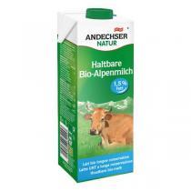 Andechser Natur - Lait de vache bio demi-écrémé 1,5 % MG - 1 L